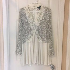 White lace Long sleeve tunic/dress